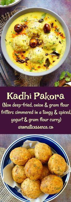 Punjabi Kadhi Pakora. Step by step pictorial recipe to make healthier, kadhi pakora, with non deep-fried pakoras (onion & gram flour fritters)