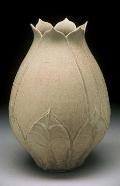 Lotus Vase richard vincent pottery slip design brush on leaf pattern pottery ceramics clay