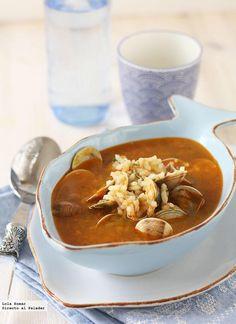 Receta de sopa de chirlas con almejas. Receta de pescados y mariscos. Con fotos de presentación y del paso a paso y consejos de elaboración y de degustación