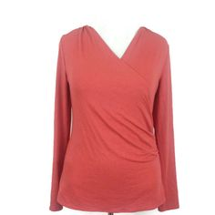 Ann Taylor Women's Ruched Wrap Top V-Neck Crossover Stretch Knit Career Size L #AnnTaylor #Wrap #Career