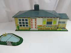 Vintage Wolverine Tin Doll House with Tin Litho Swimming Pool~~