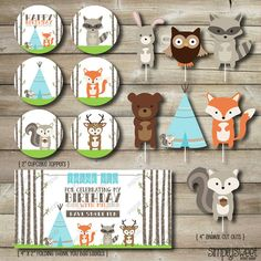Woodland Animal Printable Party Package Cupcake Toppers Animal Cut Outs S'mores Bag Label One Tree Tent Teepee Fox Raccoon Deer Aqua Orange
