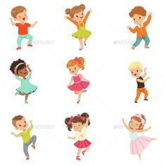 Buy Kids Dancing Set by Top_Vectors on GraphicRiver. Cute little kids dancing set, modern and classical dance performed by children vector Illustrations isolated on a whi. Drawing For Kids, Art For Kids, Funny Kids, Cute Kids, Dancing Drawings, Crayola, Kids Icon, Kids Vector, Dance Humor