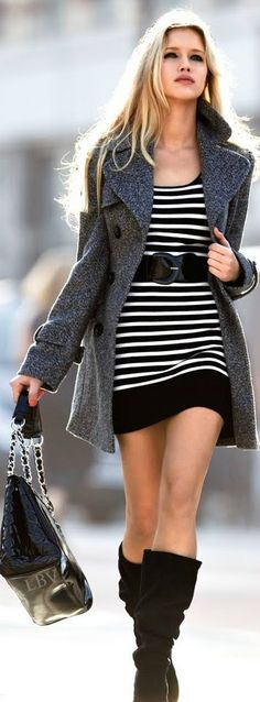 Fall street fashion | Striped dress coat boots
