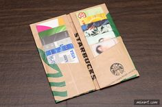 making Starbucks Wallet - BuJo Origami Wallet, Origami Envelope, Origami Paper, Diy Paper, Paper Crafts, Paper Art, Diy Wallet Felt, Card Wallet, Starbucks Crafts