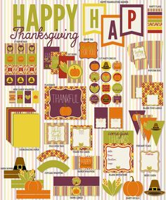 Thanksgiving PRINTABLE Party Full Collection by Love by lovetheday, $10.00