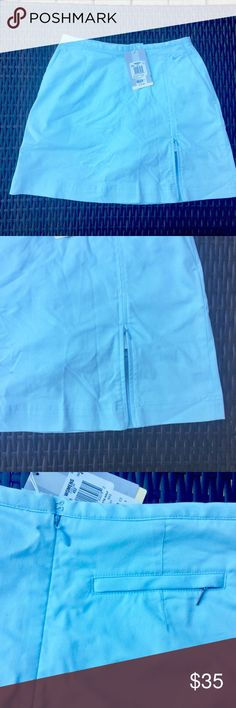 "Nike Golf Skort NWT Nike Dri Fit skort - light blue. Fabric transports moisture from skin and extensible stretch. Has a side zipper on bottom front area and back zipper closure. Waiste across front 14"" and length 16.5"". Brand new. Nike Shorts Skorts"
