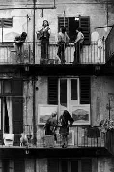 by Gianni Berengo Gardin - I love the idea of some of us on 1 fire escape / balcony and some of us on another.