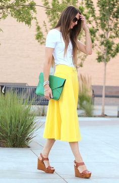 ( summery yellow ASOS midi skirt )