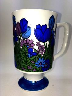 Royal Crown Arnart Smug Mugs Flower Time By Pia Blue Purple Green Cup Vibrant