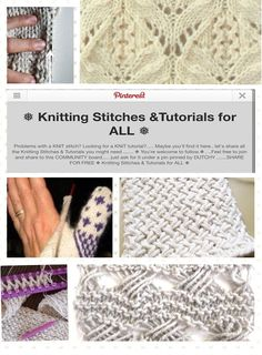 Feel free to join my other board: Knitting stitches and tutorials for all. http://www.pinterest.com/DUTCHYLADY/knitting-stitches-tutorials-for-all/