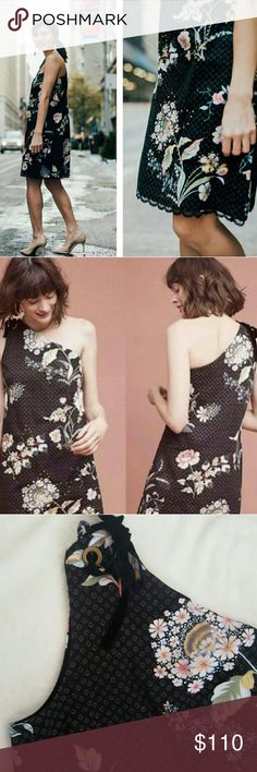 Maeve one-shoulder floral dress Black shift dress with gorgeous florals and grommets. Side zip with hook & eye closure. True to size because of zipper,but the body is roomy and fully lined. Thick cotton/spandex material. Lace scalloped hem that adds just the right detail.NWT. Dresses One Shoulder
