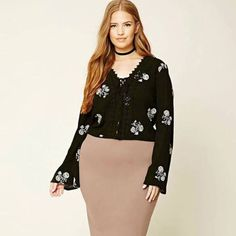 TKMC25P82P00 Plus Size Bell Sleeve Cropped Floral Top:, $27.90