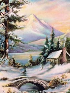 Solve Robed in Snowy White jigsaw puzzle online with 80 pieces Watercolor Landscape, Landscape Art, Landscape Paintings, Watercolor Paintings, Winter Pictures, Christmas Pictures, Nature Pictures, Nature Paintings, Beautiful Paintings