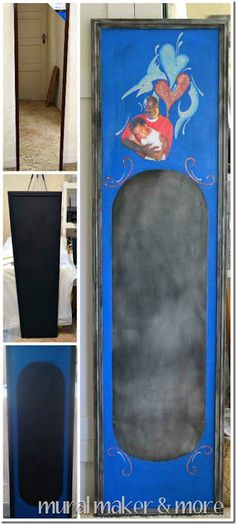 make a chalkboard from full length mirror, then mod podge a photo & make it special.