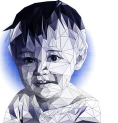 portrait effect geometric jewel boy photoshop Illustrator vector art linework baby face