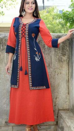 Beautiful Cotton Jacket-kurti with beautiful embroidery embellishments. Bollywood Dress, Pakistani Dresses, Stylish Dresses, Women's Fashion Dresses, Kurti With Jacket, Kurta Patterns, Churidar Designs, Fashion Figures, Indian Designer Wear