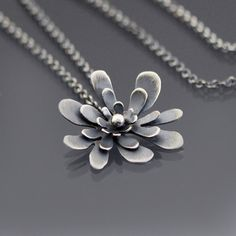 Sterling Silver Splash Blossom Necklace by lisahopkins on Etsy