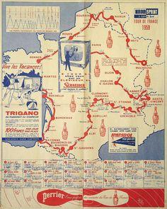Vintage Tour de France Map 1959