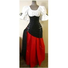 Buccaneer Wench Skull design Under Bust Corset Top Skirt and Sash - BLACK Skull Design with Red Skirt by LoriAnn - Choose size. $214.99, via Etsy.