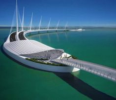 The government of Qatar has released details of Sharq Crossing, a massive infrastructure project designed by Spanish architect Santiago Calatrava. Bridges Architecture, Futuristic Architecture, Amazing Architecture, Architecture Details, Santiago Calatrava, Future Buildings, Unique Buildings, Beautiful Buildings, Ing Civil