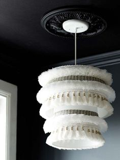 I like that lamp: moroccan wedding blanket inspired lampshade by Design*Sponge. Learn how to make your own 2-tiered drum lampshade pendant light fixture. See more DIY lamp ideas to pin at pinterest.com/ilikethatlamp