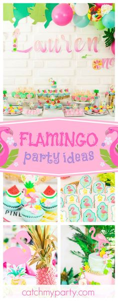 Swoon over this gorgeous tropical chic flamingo birthday party. The tiered birthday cake is stunning!! See more party ideas and share yours at CatchMyParty.com