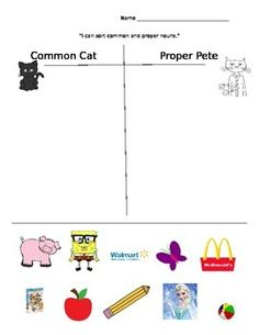 """Picture sort of common and proper nouns. Used in my kindergarten ELD classroom of English language learners. Includes relevant pictures like Elsa and Pete the Cat. Uses """"Common Cat"""" and """"Proper Pete."""" Could modify for older students by asking them to write the words too."""