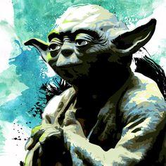 Star Wars art print of Jedi Master Yoda 8x10 by TheDecoriumStudio.
