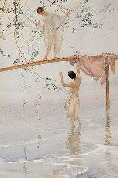 birdsong217:   Sir William Russell Flint (Scottish, 1880-1969) Caprice Watercolour, ca. 1923