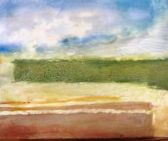 """""""Deconstructed Landscape"""" Encaustic wax and mulberry paper. 8""""x10"""""""
