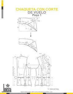 Manual de patronaje CMT - SENA Collar Pattern, Jacket Pattern, Clothing Patterns, Sewing Patterns, Pattern Drafting Tutorials, Learn To Sew, Pattern Books, Planer, Jackets For Women