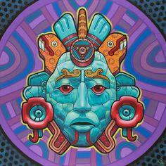 Xochicoatl Art Print by Rilke Guillen - X-Small Psychedelic Art, Dessin Aztec, Art Pop, Aztec Culture, Aztec Warrior, Mexico Art, Psy Art, Aztec Art, Chicano Art