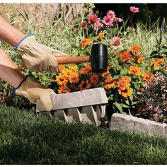 """Prepare your garden with a finished lookMade from durable resin, our reproduction Stone Edging  creates a decorative border for your flowerbed, garden, or landscaping. Easy to  install with no digging required, just use a rubber mallet to effortlessly tap  the Edging into place. Simple interconnect design provides a  variety of landscaping patterns. Creates 10' of attractive perimeter and measures  12""""w x 1 1/2""""d x 5 3/4""""h, with about 2 1/4"""" above the ground. Made in the USA."""