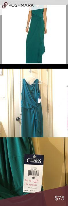 Chaos deep jade web exclusive dress Deep jade floor length dress Chaps Dresses