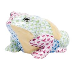 Herend Hand Painted Porcelain Multi Colored Toad Figurine in Key Lime, Raspberry, & Blue Fishnet w Beige. Possible Gold Accents.
