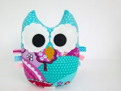 For the tree shelf on the wall.....Plush Owl Softie Tag Toy Small Owl Pillow Turquoise, Red, Pink, Purple Minky. $15.00, via Etsy.