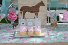 Horse, Burlap, Pony, Floral, Pink, Teal, cowgirl, third, shabby chic Birthday Party Ideas | Photo 6 of 39 | Catch My Party
