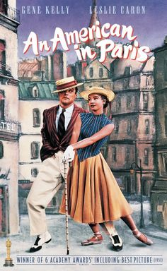 """Gene Kelly and Leslie Caron ~ """"An American in Paris"""", friends struggle to find work in Paris. However, things become more complicated when two of them fall in love with the same woman. Best Classic Movies, Classic Movie Posters, Great Movies, Gene Kelly, Fred Astaire, Old Movies, Vintage Movies, Vintage Posters, Classic Hollywood"""