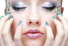 Aqua nails and make up!