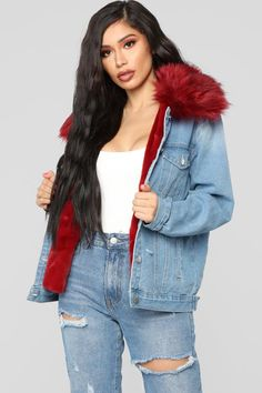 Available In Denim/RedFaux Fur Denim JacketRemovable Fur Lining Front ButtonsDistressed Details Self: Cotton Lining: Polyester Teen Fashion Outfits, Stylish Outfits, Cool Outfits, Women's Fashion, Fashion Nova Models, Curvy Women Fashion, Denim Jacket With Fur, Aesthetic Grunge Outfit, Cute Coats