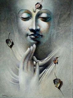 Buddha by Amit Bhar Budha Painting, Krishna Painting, Krishna Art, Artist Painting, Artist Art, Buddha Wall Art, Buddha Zen, Lord Buddha Wallpapers, Budha Art