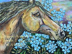 """Painting of our Paso Fino stallion """"Adonis"""" running in forget-me-nots. Sold."""