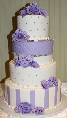 Purple Themed Wedding Cakes  From  Andrea Howard Cakes, Edmond, Ok