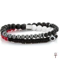 Double Line Coral Beaded Bracelet #coral #menfashion #men #bracelet #black #red #doubleline