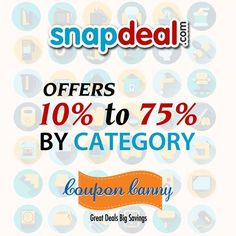 10% to 75% OFFERS BY CATEGORY at #Snapdeal! Claim Now : http://www.couponcanny.in/snapdeal-coupons/