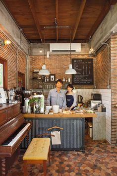 Would a piano be awesome in the corner? Rustic Coffee Shop, Cozy Coffee Shop, Small Coffee Shop, Coffee Shops, Coffee Cafe, Coffee Shop Interior Design, Coffee Shop Design, Deco Restaurant, Restaurant Design