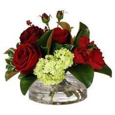 Jane Seymour Botanicals 16 in. Rose Berry and Snowball Centerpiece Silk Flower Arrangement * Check out this great product.