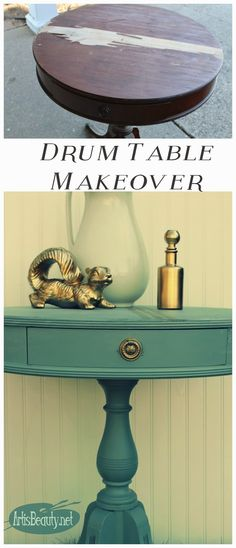 ART IS BEAUTY: Imperial Drum Table Persian Blue Milk Paint Makeover