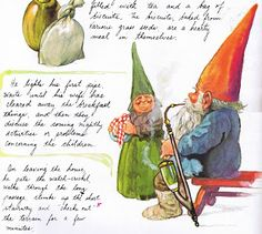 Gnome smoking... what? Christmas Table Cloth, Love Fairy, Gnomes, Elves, Smoking, Children, Pixies, Wizards, Painting